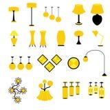 Grupo de vetores e de ícones da lâmpada e do equipamento de iluminação Fotografia de Stock Royalty Free