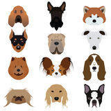 Grupo de vetores e de ícones do cão Imagem de Stock