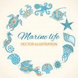 Grupo de vida marinha dos desenhos animados Imagem de Stock Royalty Free
