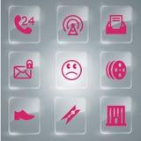 Grupo de vidro do ícone do vetor dos ícones Fotos de Stock
