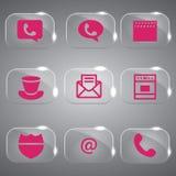 Grupo de vidro do rosa do vetor dos ícones  Imagem de Stock Royalty Free