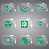 Grupo de vidro do vetor dos ícones da cor verde Imagem de Stock Royalty Free