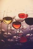 Grupo de vidros com vinho Imagens de Stock Royalty Free