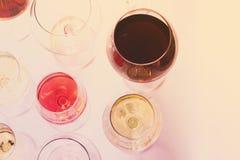 Grupo de vidros com vinho Fotos de Stock Royalty Free