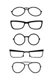 Grupo de vidros do vetor no branco preto Fotografia de Stock