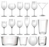 Grupo de vidros e de copos de vinho Imagem de Stock