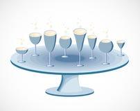 Grupo de vidros em uma tabela. Vetor ilustração do vetor