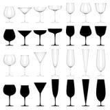 Grupo de vidros para as bebidas alcoólicas - ISOLADAS Foto de Stock