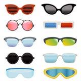 Grupo de vidros de sol diferentes ilustração stock
