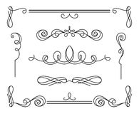 Grupo de vinhetas e de divisores caligráficos do vintage ilustração do vetor