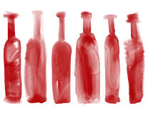 Grupo de vinho da garrafa - a aquarela engarrafa o estilo tirado mão Fotos de Stock