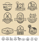 Grupo de vintage e de logotipo moderno do crachá da exploração agrícola Imagens de Stock Royalty Free