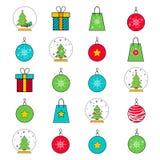 Grupo de vinte ícones pelo Natal e o ano novo Fotos de Stock