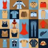 Grupo de vinte e dois ícones lisos Sportswear e calças de brim Foto de Stock