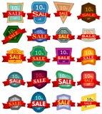 Grupo de vinte etiquetas do disconto Crachás coloridos com a fita vermelha para a venda 10 por cento fora Fotografia de Stock Royalty Free