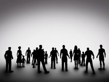 Grupo de várias silhuetas dos povos sociedade Fotografia de Stock Royalty Free