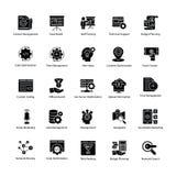 Grupo de Web e de Seo Glyph Vetora Icons Imagens de Stock Royalty Free