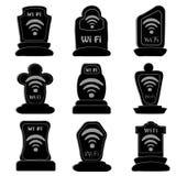 Grupo de wifi da lápide dos ícones ilustração stock