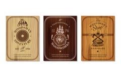 Grupo de Woodwork Texture Banners do lenhador ilustração stock