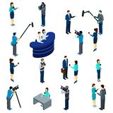Grupo de Work Isometric Icons do journalista Fotos de Stock Royalty Free
