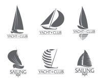 Grupo de yacht club gráfico, navegando moldes do logotipo do esporte ilustração stock