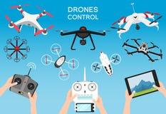 Grupo de zangões e de controlo a distância modernos do ar Ciência e tecnologias modernas Ilustração do vetor Robô de rádio ou ilustração do vetor