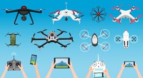 Grupo de zangões e de controlo a distância modernos do ar Ciência e tecnologias modernas Ilustração do vetor Robô de rádio ou ilustração stock