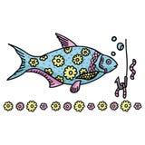 Grupo decorativo bonito do motivo da ilustração do vetor dos desenhos animados dos peixes Peixes desenhados mão ilustração stock