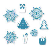 Grupo decorativo de ícones lisos do Natal Fotografia de Stock Royalty Free