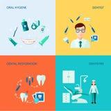 Grupo decorativo dental do ícone ilustração do vetor