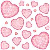 Grupo decorativo do coração do vetor ornamentado Fotografia de Stock Royalty Free
