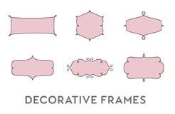 Grupo decorativo do vetor dos quadros ilustração stock