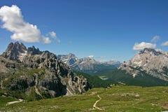 View of Grupo dei Cadini, Misurina, Monte Cristallo, Dolomites. Grupo dei Cadini, Misurina, Monte Cristallo from Rifugio Lavaredo, Dolomites, Italian Alps Stock Photography