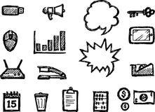 Grupo del bosquejo del icono de la oficina libre illustration