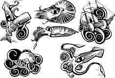 Grupo del calamar del pulpo Imágenes de archivo libres de regalías