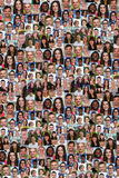 Grupo del collage del fondo de medios multirraciales del social de la gente joven Fotografía de archivo libre de regalías