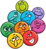 Grupo del ejemplo de la historieta de los caracteres de las emociones ilustración del vector
