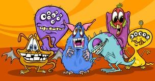 Grupo del ejemplo de los monstruos de la historieta ilustración del vector