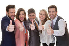 Grupo del equipo del negocio con los pulgares para arriba Foto de archivo libre de regalías