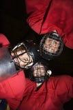 Grupo del jugador de hockey de las mujeres. Fotografía de archivo