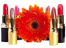 Grupo del lápiz labial. Cosméticos decorativos. Imagen de archivo libre de regalías
