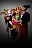 Grupo del teatro en trajes Imágenes de archivo libres de regalías