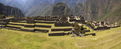 Grupo del umbral de Machu Picchu tres de ruinas Imagenes de archivo