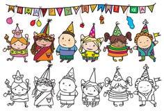 Grupo del vector de niños en la fiesta de cumpleaños Fotos de archivo