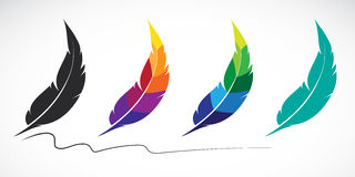 Grupo del vector de plumas Fotografía de archivo