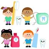 Grupo dental do vetor da higiene das crianças ilustração do vetor
