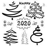 Grupo desenhado à mão de árvores de Natal abstratas Clipart por feriados ano novo e Natal do projeto Contornos pretos O isolado ilustração stock
