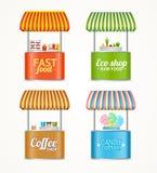 Grupo detalhado realístico da tenda do mercado do fast food da rua 3d Vetor Imagens de Stock