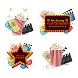 Grupo detalhado realístico do cinema 3d Vetor Imagens de Stock Royalty Free