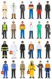 Grupo diferente do homem dos caráteres da ocupação das profissões dos povos no estilo liso isolado no fundo branco Moldes para in ilustração royalty free